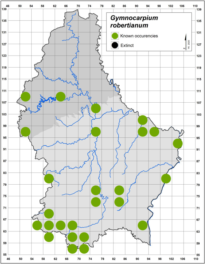 Map Gymnocarpium robertianum