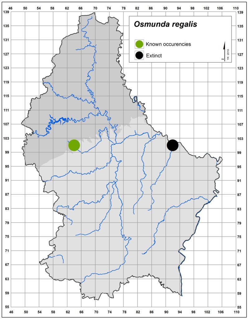 Map of Osmunda regalis